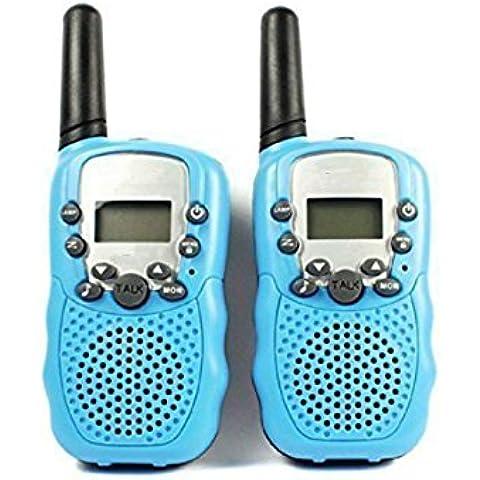 Zulux Conjunto de 2 piezas 22 Canal Doble de walkie-talkie 2-Way Radio 3 kilómetros de alcance - infantil radios de dos vías para los niños de regalo (Azul)
