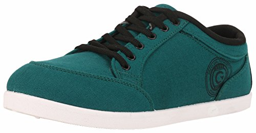 Globalite Men'S Teal Black Pu Canvas Casual Shoes -Uk 11  available at amazon for Rs.299