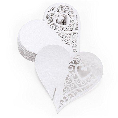 Musuntas 50Tlg weiß Herz Motive Namenskärtchen / Platzkarte / Namensschild / Sitzkarte / Namenskarte / Tischkarte / Tischkärtchen für Hochzeiten Feste oder Partys