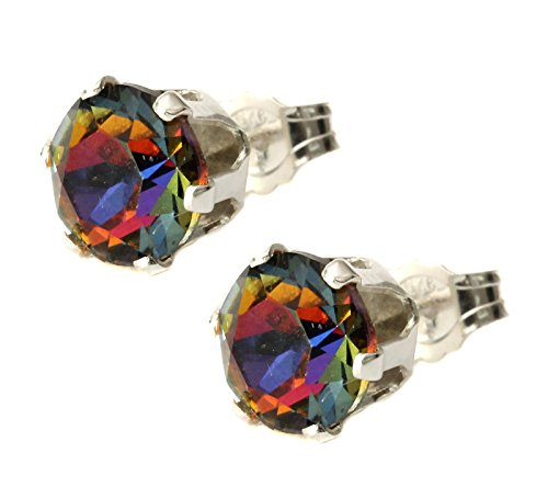 Black Moon 6mm Eclectic Blue, Red, Yellow and Orange mix Crystal Volcano Stud Earrings Made With Sterling Silver and Swarovski Crystals by Black Moon - Rare Colour