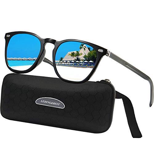 LEDING&BEST Sonnenbrille für Herren Damen Polarisierte/Radfahren Golfen Fahren Angeln Klettern Vintage-Brille Outdoor-Sportarten Strand Sonnenbrillen (blue/black)