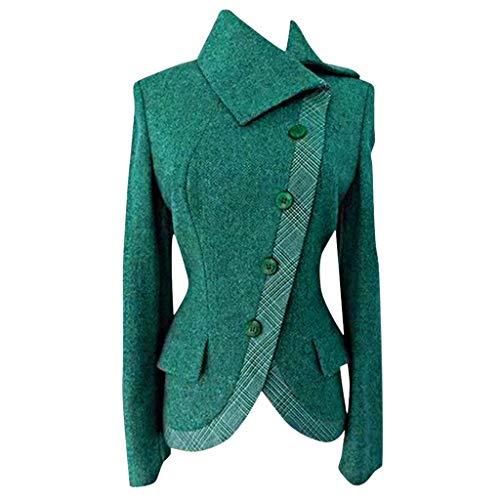 MOTOCO Damen Frauen Jacke Mantel Übergröße Gitternaht verdicken Retro Revers Unregelmäßigen Schrägen Kragen Geknöpfte Oberbekleidung Bluse(M,Grün)