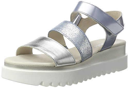 Gabor Shoes Damen Fashion Offene Sandalen mit Keilabsatz, Silber (Silber/Cielo/Sky 66), 41 EU