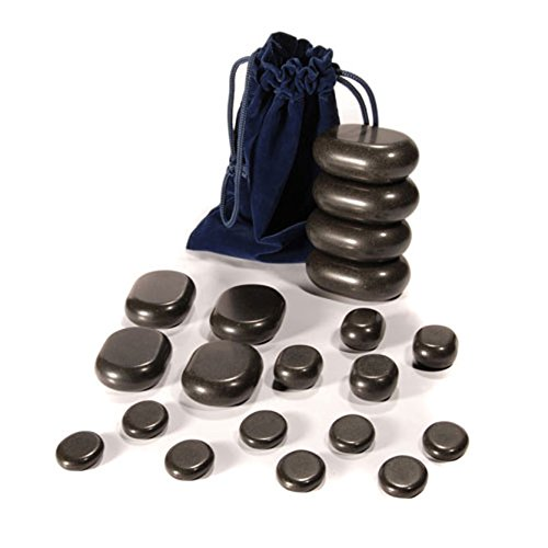 Massage Set Steine (Hot Stone Set von TAOline, 20 Basalt Massagesteine, Einsteiger-Set)