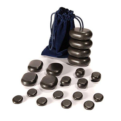 Set Massage Steine (Hot Stone Set von TAOline, 20 Basalt Massagesteine, Einsteiger-Set)