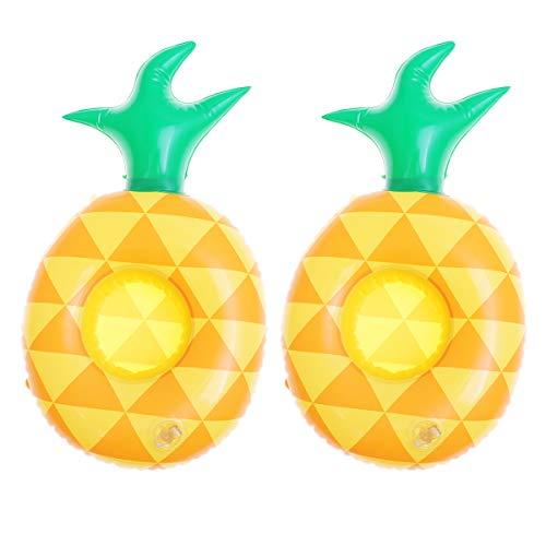 Amosfun 2 aufblasbare Getränkehalter Ananas Posen Untersetzer für Pool-Party und süße Kinder Bad, Wasser Spaß Spielzeug -