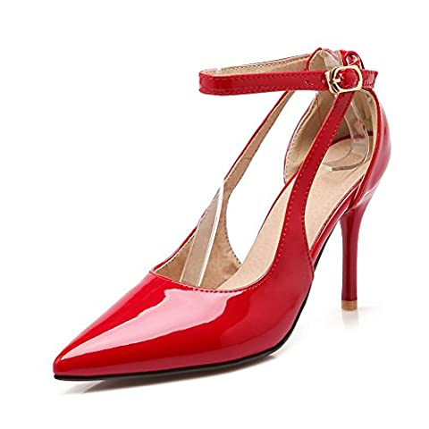 BalaMasa Ladies Pointed-Toe Metal Buckles Spikes Stilettos Red Patent-Leather Pumps Shoes - 4 UK