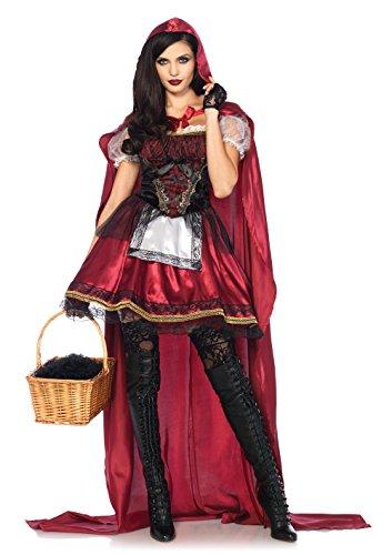 Leg Avenue 85541 2 teilig Set Rotkäppchen, Damen Karneval Kostüm Fasching, L, burgundy (Avenue Satin Kostüme)