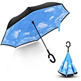 Dilwe Rain Umbrella, Inverted Double Layer Windproof UV Protection Reverse Folding Rain Umbrellas for Men and Women