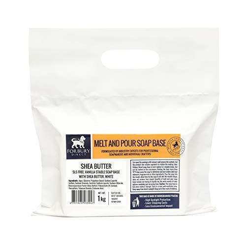 FORBURY DIRECT · ENGLAND · Sheabutter Seifenbasis Rohseife Schmelzen und gießen Seifen 1 kg (SLS-frei) -
