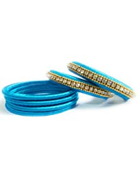 Silk Thread Bangles - Sky Blue Color With Stone Chains - B078B76991