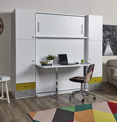 Zata Home Happy Table 140x190cm Vertikal Weiß mit Schreibtisch Schrankbett, ausklappbares Wandbett,...