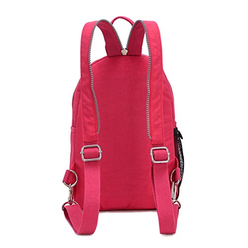 TianHengYi Girls Small Water Resistant Nylon Backpack light Sling Chest Bag Red Rose