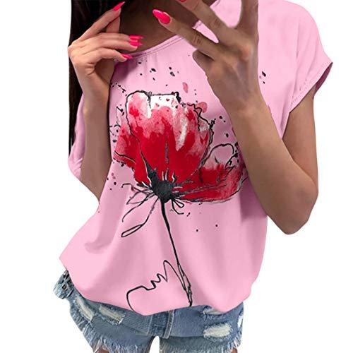 OVERDOSE Frauen Kurzarm Blumen Pumps Gedruckt Tops Strand Beiläufige Lose Bluse Top T-Shirt (EU-40/CN-L, X-ab-rosa)