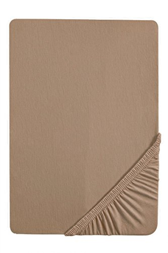 Stretch Baumwolle Jersey (biberna 77144 Jersey-Stretch Spannbetttuch, nach Öko-Tex Standard 100, ca. 180 x 200 cm bis 200 x 200 cm, macchiato)