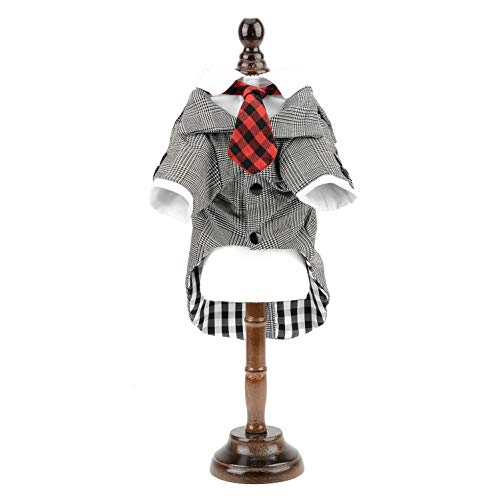 Dog Tuxedo Costume Plaid Tie Suits Shirt Outfits, Grey (XY000347-gray-L) ()
