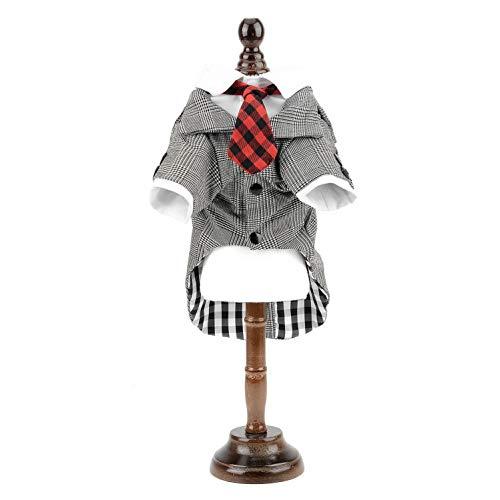 (smalllee_lucky_store Hundekostüm für Katzen, Karomuster, Jacke, Hemd mit Roter Krawatte, Hochzeit, Party, Outfit, Chihuahua, Kleidung für Kleine Hunde und Katzen)