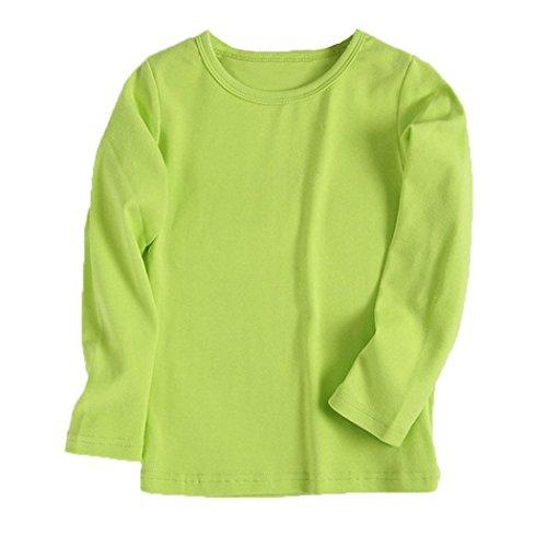 URSING Kinder Super süß Langarmshirts Süßigkeit Clour Familienkleidung Langarmshirt Basic Schlichtes Einfarbige Sweatshirt Junge Mädchen T-Shirt Unisex Klassik Pullover (110CM, Grün)
