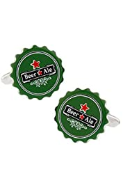 A Pair Of Unique Beer Bottle Top Cufflinks WITH PRESENTATION GIFT BOX - Solid Brass - Rhodium Plated Finish - Shipped From The UK!