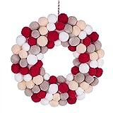Valery Madelyn Christmas Wreath Decoration Feltro di Lana Pom Pom Ball Hang On pareti/Porte / Finestre/Caminetto / Scale 35cm Rosso e Bianco e Grigio e Beige con Struttura Robusta