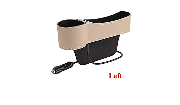 Universal Plug And Play For Cars,Black-right Car Leather Charging Rack Side Pocket Dual USB Charging Port Roboraty Water Cup Holder Seat Storage Box Car Seat Gap Organiser
