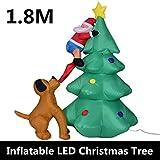 XSWE 1,8 M Aufblasbare LED-Hund Chase Santa Zu Weihnachtsbaum-Hof Outdoor-Dekor