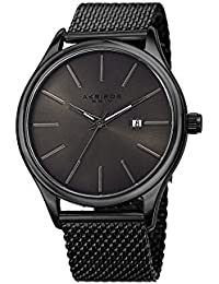 Akribos XXIV Men's Swiss Quartz Stainless Steel Casual Watch Color:Black (Model: AK959BKGN)