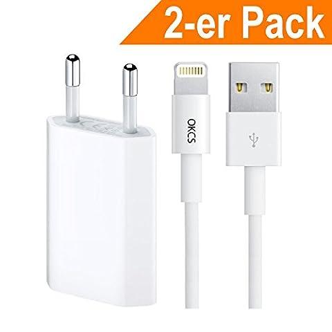 OKCS® Ladeset [Apple MFi zertfiziert] Lightning Kabel zu USB 2 m Ladekabel + 1A Netzteil für iPhone SE, 6s, 6 Plus, 5s, 5c, 5, iPad Air/2 mini/2/3, iPad 4th Gen. iPod touch 5th Gen. iPod nano 7th Generation