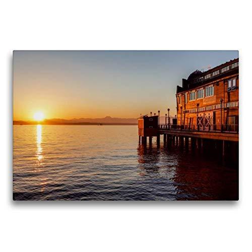 Calvendo Premium Textil-Leinwand 75 cm x 50 cm quer, Pier des Seattle Aquariums   Wandbild, Bild auf Keilrahmen, Fertigbild auf echter Leinwand, Leinwanddruck Orte Orte - Holz-thomas Aquarium