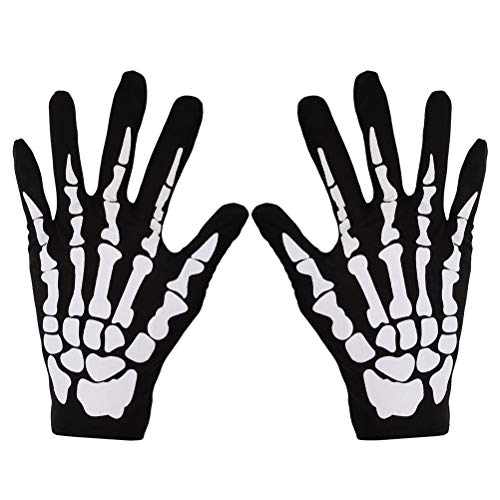 MSPTER 1 Paar Damen/Herren Skelett Handschuhe Knochen