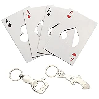 ANPHSIN 6 PCS Novelty Stainless Steel Credit Card Beer Bottle Opener with Keychains for Your Wallet( including 2 keychains)
