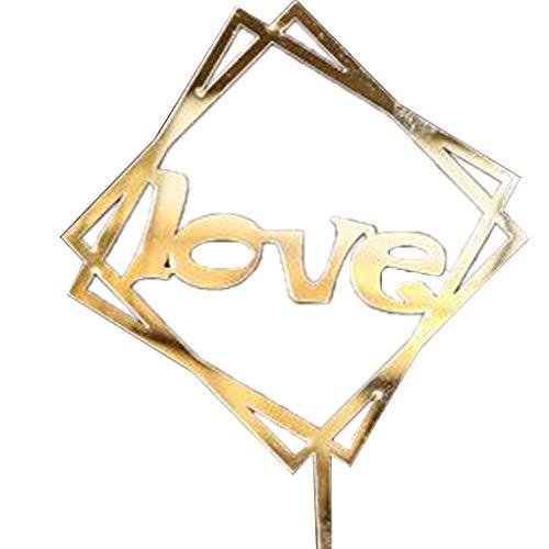 Jinzuke Alles Gute zum Geburtstag Valentinstag-Kuchen-Deckel-Liebe-Wedding Valentine Jahrestag Acryl Kuchen Dekoration