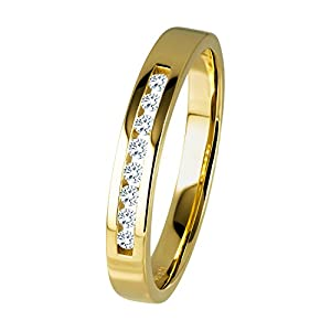Diamond Line Diamant-Ring Damen 585 Gold mit 8 Diamanten 0.10ct. Lupenrein