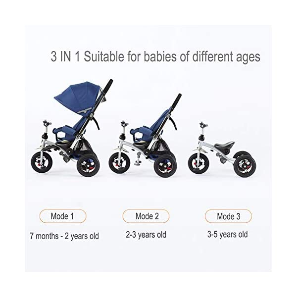 GSDZSY - 3 IN 1 Children Kids Tricycle, Seat Adjustable, Baby Can Sit Or Lie Flat, Push Rod Can Control The Direction, Rubber Wheel, 1-6 Years Old GSDZSY ❀ Material: High carbon steel + ABS + rubber wheel, suitable for children from 6 months to 6 years old, maximum load 30 kg ❀ Features: The push rod can be adjusted in height, the seat can be rotated 360, the backrest can be adjusted, the baby can sit or lie flat; the adjustable umbrella can be used for different weather conditions ❀ Performance: high carbon steel frame, strong and strong bearing capacity; rubber wheel suitable for all kinds of road conditions, good shock absorption, seat with breathable fabric, baby ride more comfortable 4