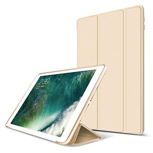 iPad Air 2 Hülle,GOOJODOQ iPad Air 2 PU Leder Etui Hülle Tasche mit Ständer Funktion und Eingebautem Magnet für Einschlaf/Aufwach Shockproof Silikon Weicher TPU Folio Hülle für Apple iPad Air 2(gold)