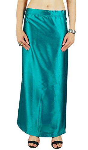 Blaue Saree (Feste blaue Saree PetticoatUnderskirt Indian Satin Silk Bollywood-Futter für Sari)