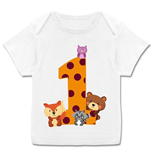 (Geburtstag Baby - 1. Geburtstag Waldtiere - 80-86 (18 Monate) - Weiß - E110B - Kurzarm Baby-Shirt für Jungen und Mädchen in verschiedenen Farben)
