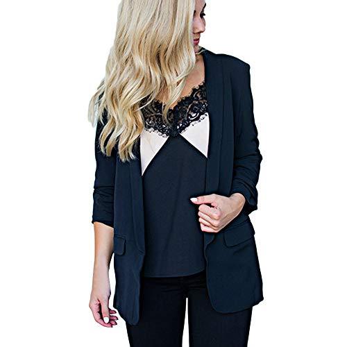 Damen Elegante Langärmelige Blazer Sakko MYMYG Einfarbig Slim Fit Vorne Offnung Tasche Tailliert Geschäft Büro Kurzjacke Jacke OL Mantel (Schwarz,EU:48/CN-5XL)