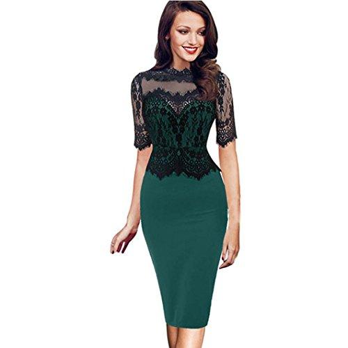 Kleider Damen Dasongff DamenVintage Elegantes Spitzekleider Bodycon Bleistiftkleid Eng Etuikleider Party Abendkleid Reizvoller Minikleid mit 1/2 Ärmel Knielang (L, Grün) (1/2-Ärmel-rollkragen)