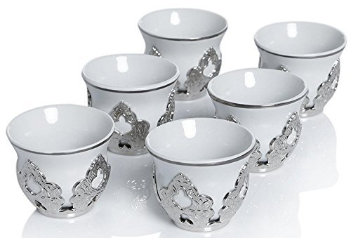 (wählen Sie Ihr Set) 6x Türkischer Stil Teegläser mit Halterungen Deckel und Untertassen Set, 100ml (Gold mit Halterung) Mirra Silver (Cup Demitasse Gold)