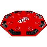Maxstore Plateau de Poker Pliable Fullhouse pour jusqu'à 8 Joueurs de Poker octogonal, Dimensions: 120 x 120 cm, Panneau MDF, 8 Porte-gobelet, 8 Chip Moyenne, Rouge