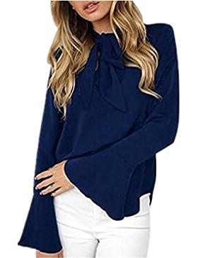 T-Shirt Donna Maglie Eleganti Manica Maglietta Lunga Top Autunno Camicia Rotondo Collo Magliette Puro Colore Pulsante...