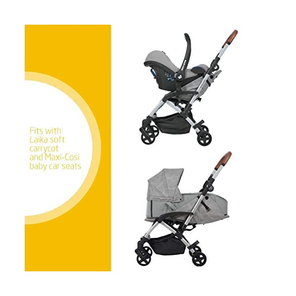 Maxi Cosi Laika Baby Pushchair, Ultra Compact and Lightweight Stroller from Birth, Easy Fold, 0 Months-3.5 Years, 0-15 kg, Nomad Grey Maxi-Cosi Urban stroller, suitable from birth to 15 kg (birth to 3.5 years) Remove the seat and transform into a pram by attaching our Laika Soft Carrycot or add any Maxi-Cosi baby car seat for a full from-birth mobility solution (sold separately) One-hand fold to easily fold stroller using only one hand 2