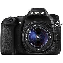 """Canon EOS 80D-fotocamera reflex digitale, 24,2 megapixel, schermo tattile di 7,62 cm (3""""), video Full HD, messa a fuoco automatica, Wi-Fi, kit con obiettivo EF 18-55 IS, colore: nero"""