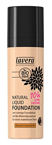 lavera Natural Liquid Foundation Makeup ∙ Farbe Almond Caramel Hautfarbe ∙ 10h Long Lasting ∙ Natural & innovative Make up ✔ vegan ✔ Bio Pflanzenwirkstoffe ✔ Naturkosmetik ✔ Teint Kosmetik 1er Pack (1 x 30 ml)