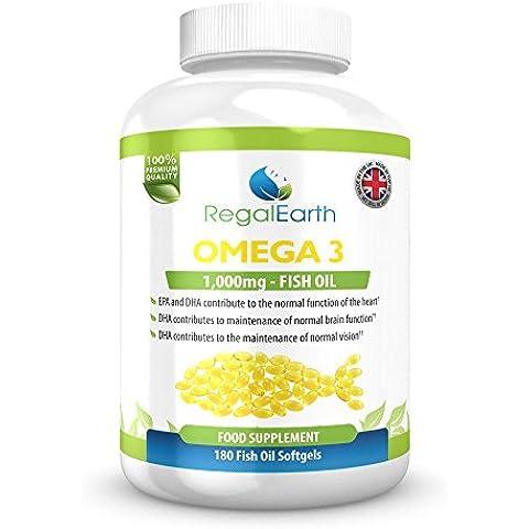 Omega 3 de aceite de pescado Complex 180 cápsulas blandas para los hombres y de las mujeres - Fórmula DHA EPA ácidos grasos soporte a las articulaciones, corazón y cerebro - Sistema Inmune, huesos, mejorar la memoria, regular el colesterol, los niveles de triglicéridos - garantía de reembolso - Made in the UK