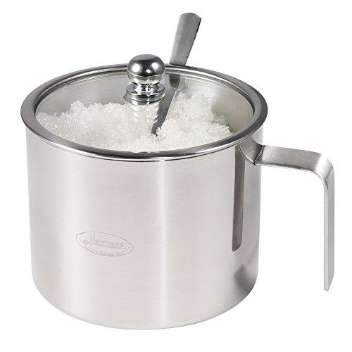 Sucrier, Newness Sucrier en acier inoxydable avec poignée, couvercle transparent (pour une meilleure reconnaissance) et cuillère à sucre pour la maison et de cuisine, forme cylindrique, 520 ml (518,8 gram)