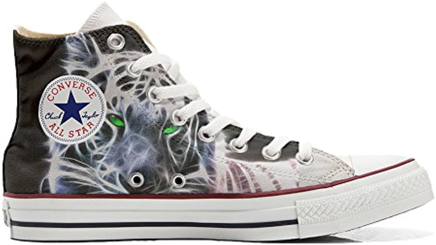 mys Converse All Star Hi Customized Personalisiert Schuhe (Gedruckte Schuhe) White Tiger with Green Eyes