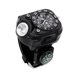 lzndeal nuevo USB cuarzo reloj Bicycle Running Torch multifunción impermeable