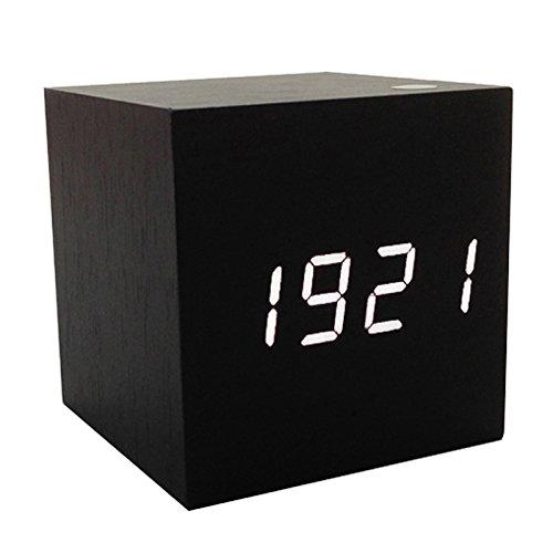 SLEMON Würfel-Digitaluhr Digital Wecker Uhr Holz mit Sound Control, Uhrzeit, Datum,Temperatur Inkl. USB Kabel Schwarz mit Weißer LED-Anzeige